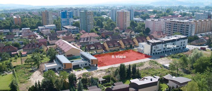Územie 'Lifkových záhrad' s vyznačením polohy rezidenčného komplexu